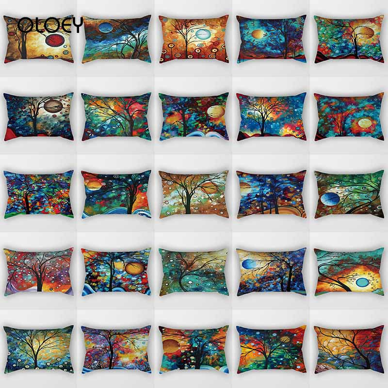 Hot Sale Beautiful Tree Pattern Pillow Case Rectangular Bedroom Pillow Case Boy Girl Male Lady Travel Pillow Case 50 * 30cm   ..