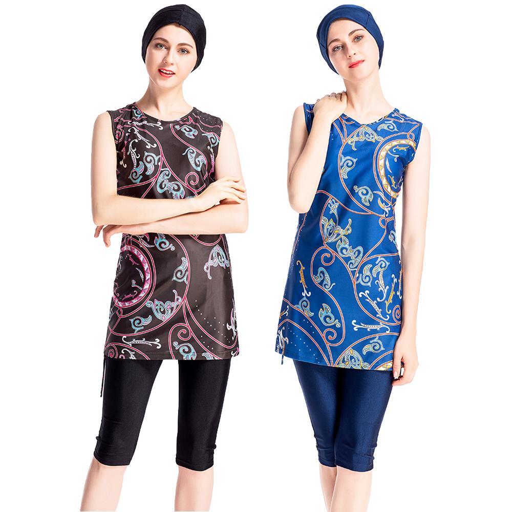 Damen Modest Burkinis Set Top+Hose Bademode Badeanzug Muslim Islamische Swimsuit