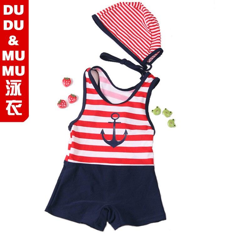 Children Stripes Swimwear Male Baby One-piece Swimming Suit Super Q Cute Bathing Suit Hat Sailor Bathing Suit Special Offer Reba