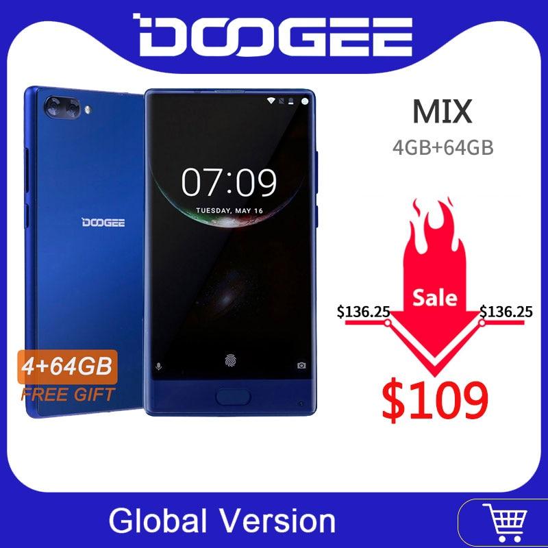 En Stock Original DOOGEE MIX Smartphone Android 7.0 double caméras 5.5 pouces MTK Helio P25 Octa Core 4GB + 64GB LTE Smartphone 3380mAh