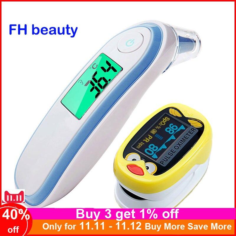 Finger Pulse Oximeter Children Kids De Pulso De Dedo Pediatric Oximetro SpO2 Saturation Meter Ear & Forehead Thermometer K1 IRT1