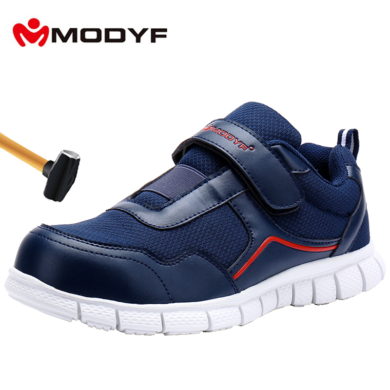 MODYF Men Steel Toe Work Safety Shoes Lightweight Breathable Casual Soft Sole Sneaker Non Slip Puncture Proof With Magic Tape