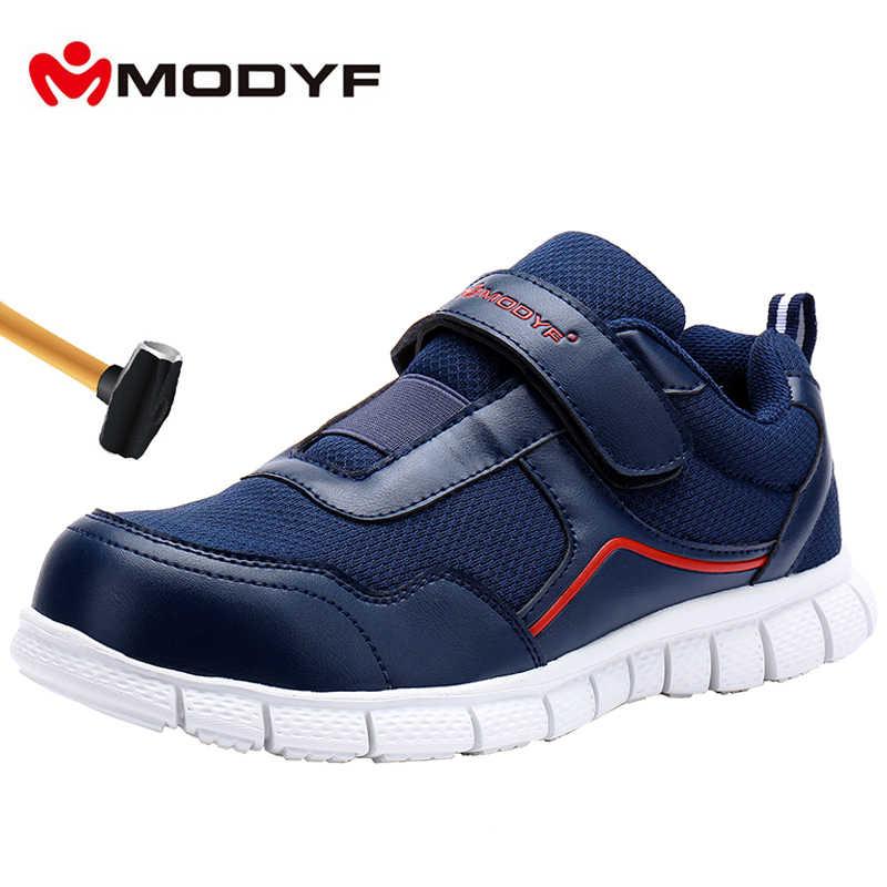 MODYF erkekler çelik ayak iş güvenliği ayakkabıları hafif nefes rahat yumuşak taban Sneaker kaymaz delinme geçirmez sihirli bant ile