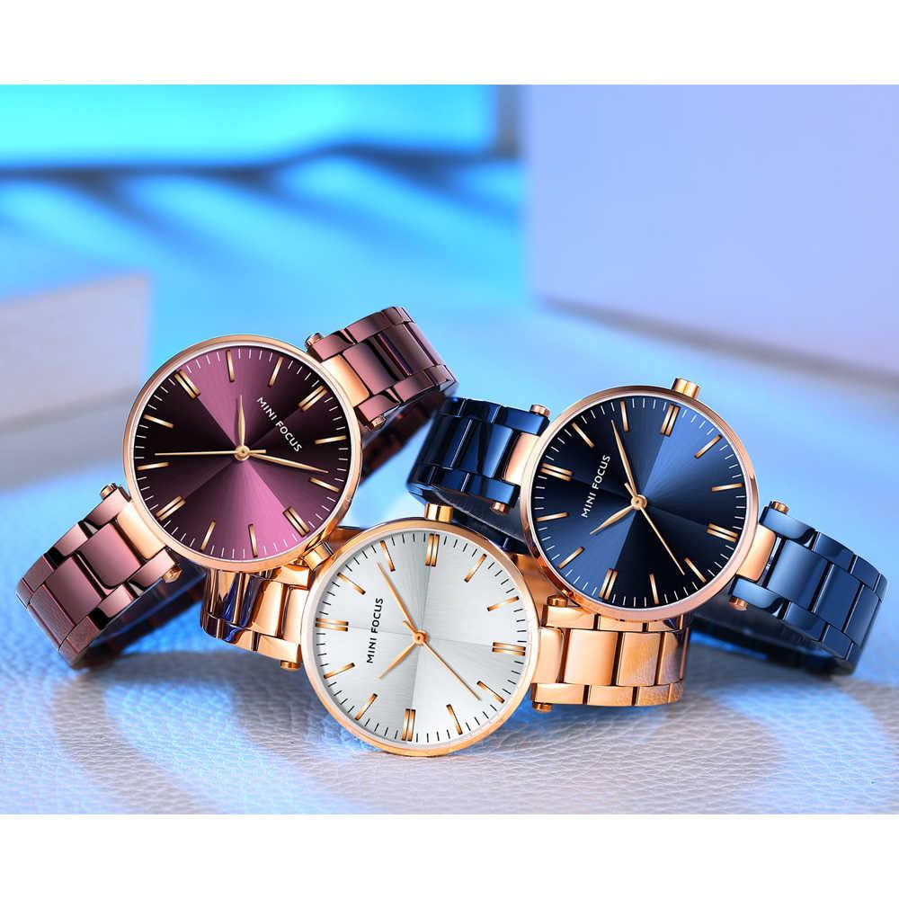 מיני פוקוס נשים שעוני יוקרה מותג 2019 סגול/כחול גבירותיי שעון אופנה/שמלת שעוני יד עמיד למים פשוט סגנון Reloj mujer