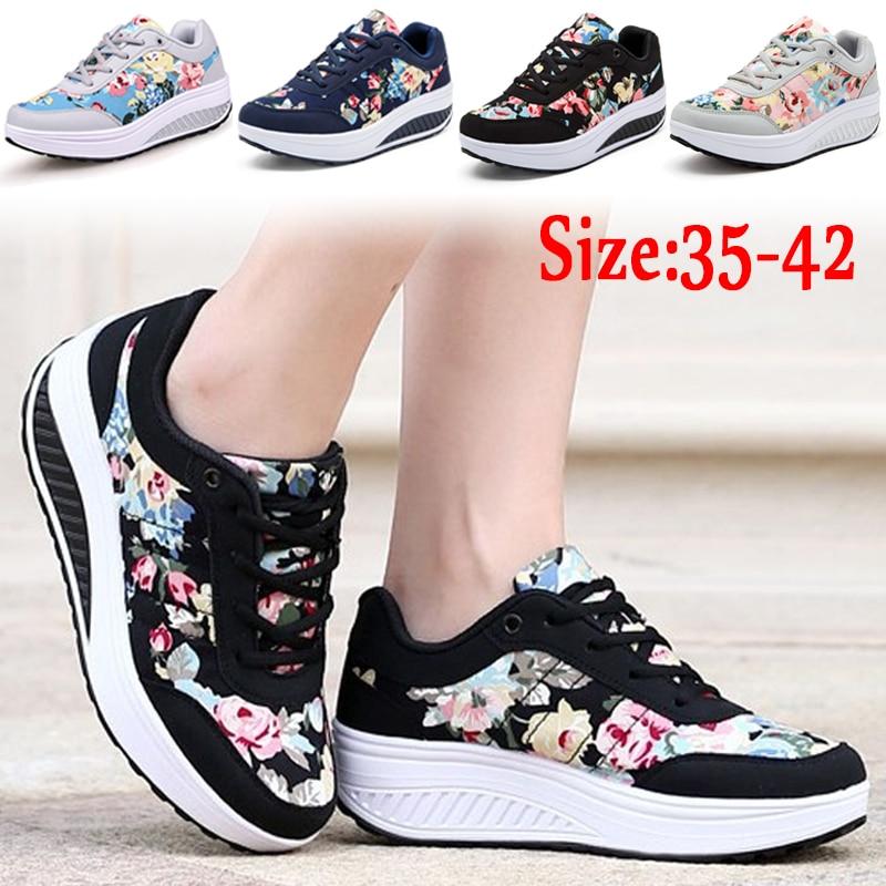 KAMUCC Women Shoes 2018 Fashion Sneakers Women Basket Femme Comfortable Wedges Sneakers Chaussure Femme Women Vulcanize Shoes