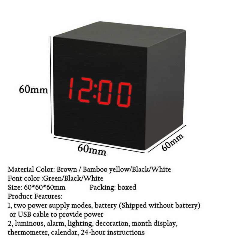 קטן כיכר דיגיטלי עץ LED שעון מעורר עץ רטרו זוהר שעון שולחן עבודה שולחן דקור קול שליטה נודניק פונקצית שולחן כלים