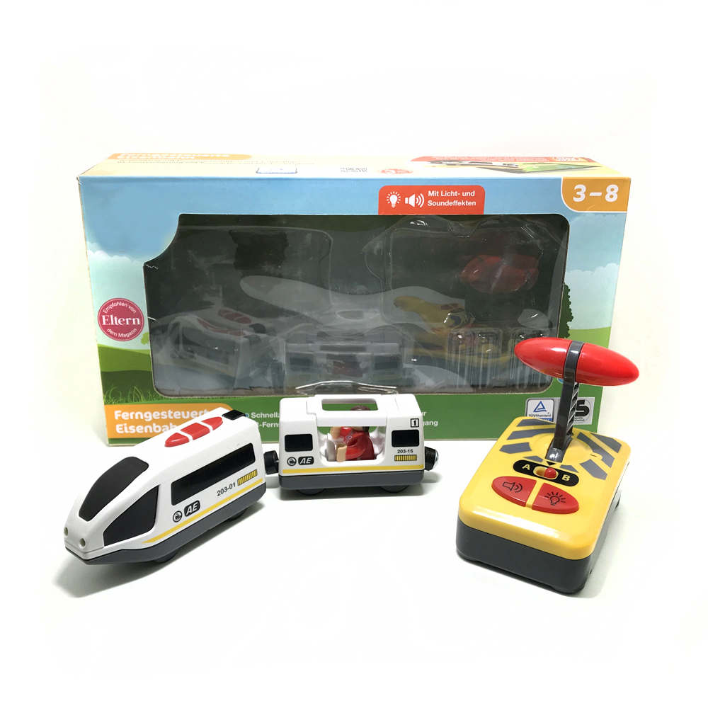 W04 Free Shipping Remote Control Electric Train 2 Section Magnetic Link Compatible  Wooden Track White Harmony Train