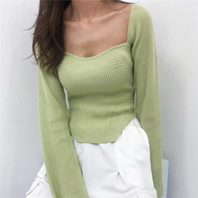 DEAT preorder knitting fashion women clothes sqaure collar flare sleeves knits pullover slim elastic fits normal size sping top cheap COTTON Polyester Ages 18-35 Years Old Tops