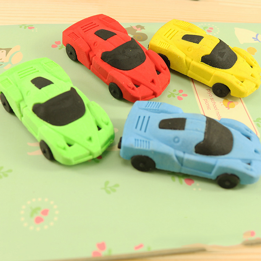 Cartoon Racing Car Student Eraser Funny Car Toy Pencil Erasers For Birthday Party Supplies Favors, School Classroom Rewards