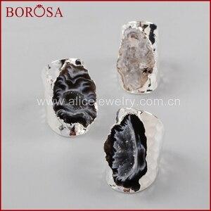 Image 5 - BOROSA 5/10 adet gümüş renk serbest doğal kristal Agates Druzy yüzükler kadınlar için açık Band yüzükler taşlar yüzük takı hediyeler S1388