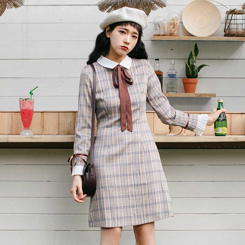 Японское платье Mori на девочку; сезон весна-осень; винтажные женские платья в клетку с воротником «Питер Пэн» и длинными рукавами