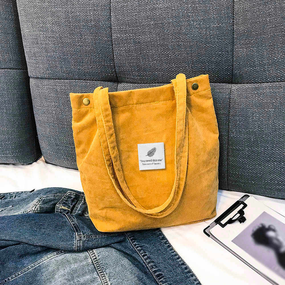 2019 Women Corduroy Shoulder Bags Environmental Shopping Bag Female Casual Tote Package Large Capacity Ladies Handbag#T2
