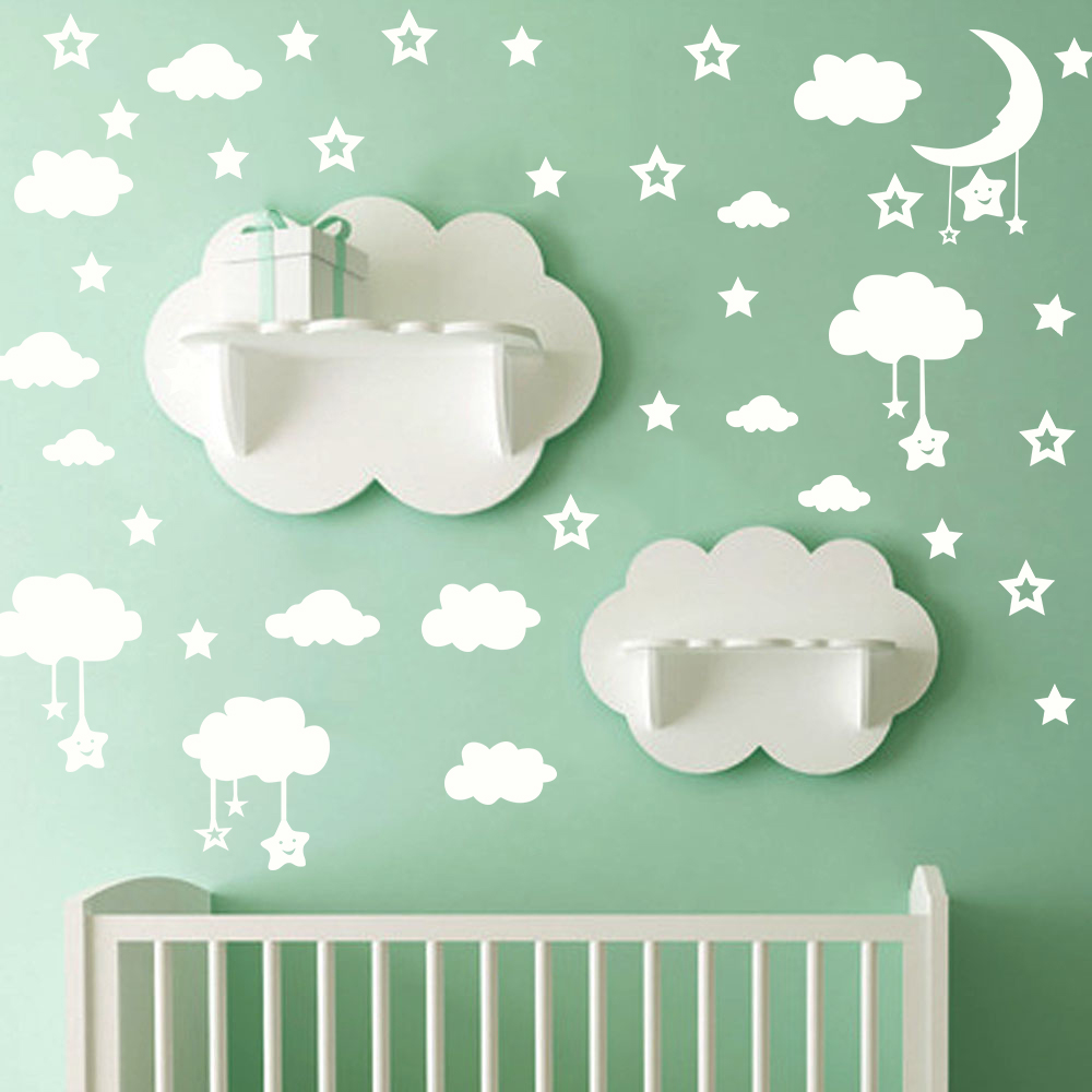 Cartoon Hollow Stars Moon Clouds Wall Stickers For Kids Baby Rooms Art Mural Home Decor DIY Peel And Stick PVC Wallpaper Poster