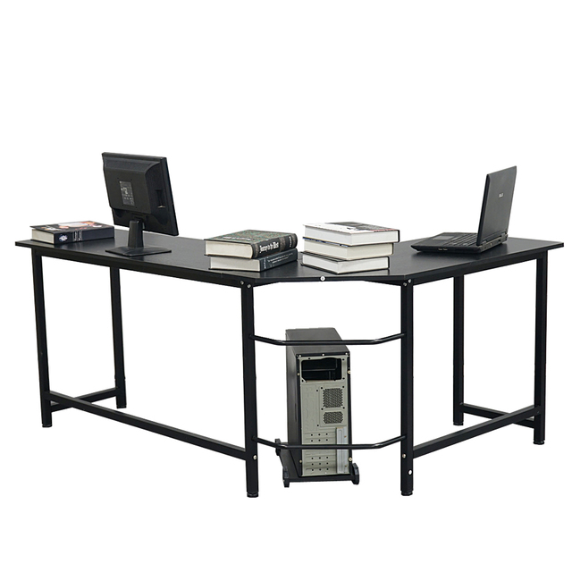 L-Shaped Desktop Computer Desk Study Table Office Table Easy to Assemble Can Be Used in home and office Black 4
