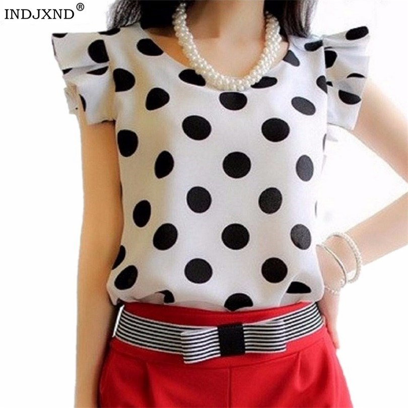 2019 Summer Style Women Blouse Tops Polka Dot Ruffled Pleated Chiffon Short-sleeve Shirt Female Plus Size Chiffon Blusa Feminina
