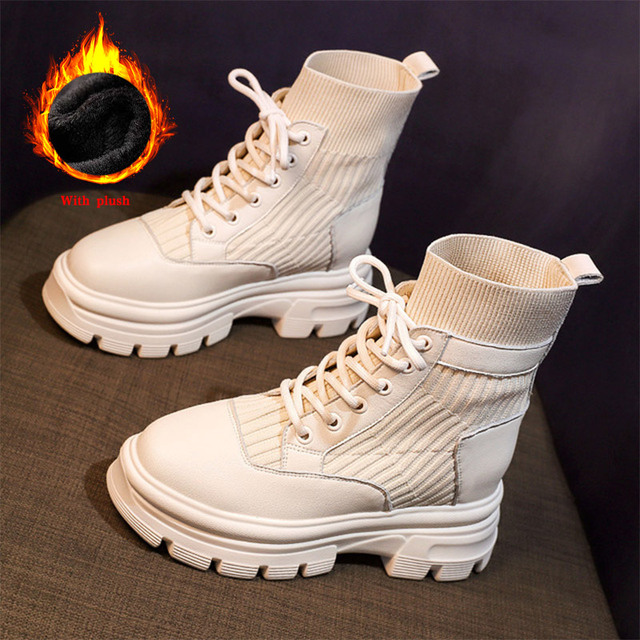 Soft Leather Nude Boots Women's New Casual  Shoes  2
