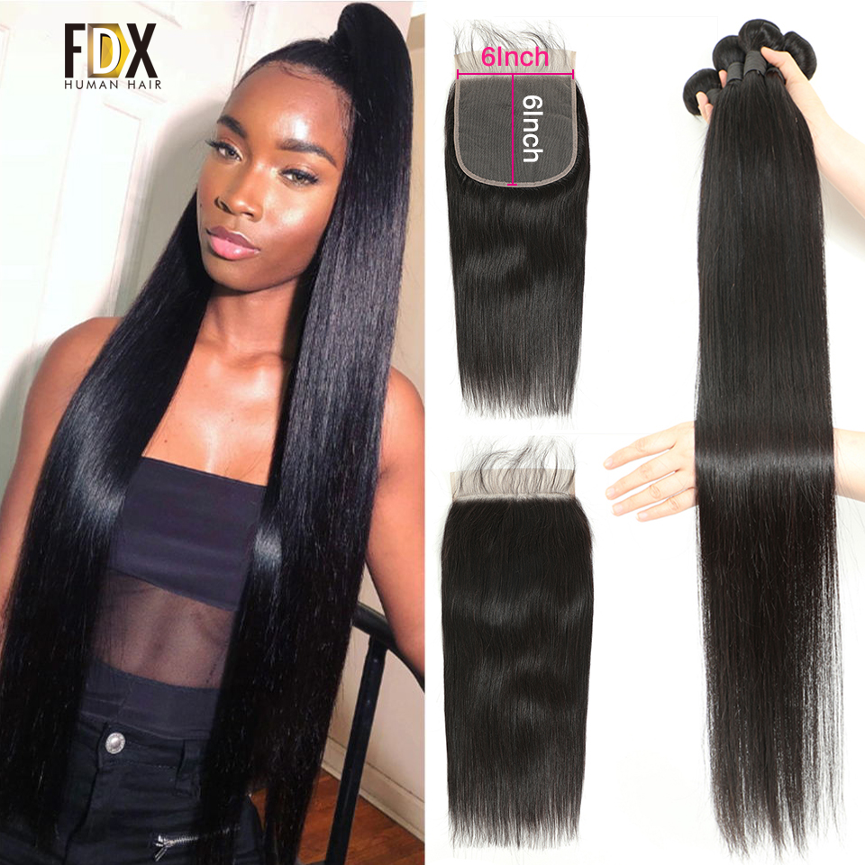 Weave Bundles Closure Human-Hair Silky 36inch Straight 30-32 6x6 with And 28 34