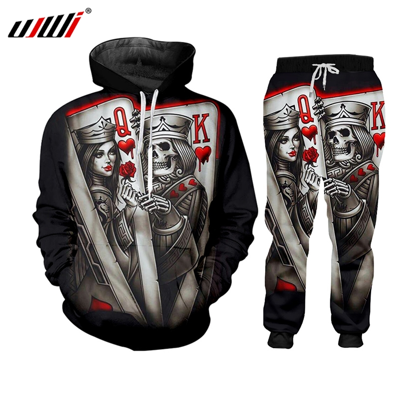 UJWI New 2019 Zip Hoodies Man Sweatsuit 3D Print Skull Poker Q&K Casual Big Size Costume Male Zipper Coat Winter Fashion Hoody