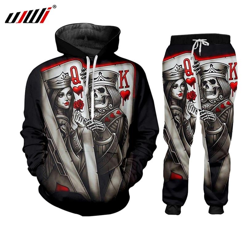 UJWI New 2019 Zip Hoodies Man Sweatsuit 3D Print Skull Poker Q&K Casual Big Size Costume Male Zipper Coat Winter Fashion Hoody