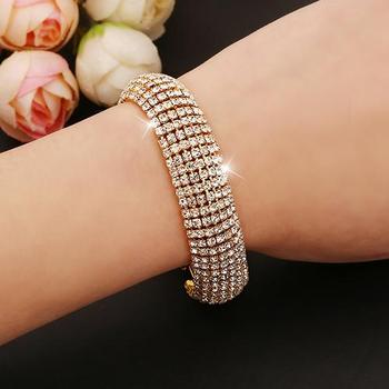 Women Roman Style Wide Bangle Rhinestone Bracelet Wedding Party Jewelry Gift 2020