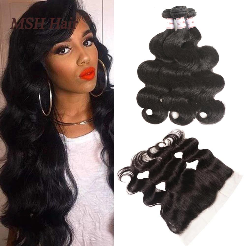 MSH Hair Brazilian Body Wave Bundles With 13x4 Lace Frontal Human Hair 3 Bundles With Closure Remy Hair Extensions Natural Black