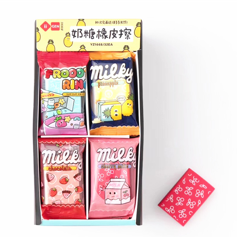 1PC Kawaii Milky Rubber Milk Candy Pineapple Eraser School Office Supply Drawing Writing Correction Student Stationery