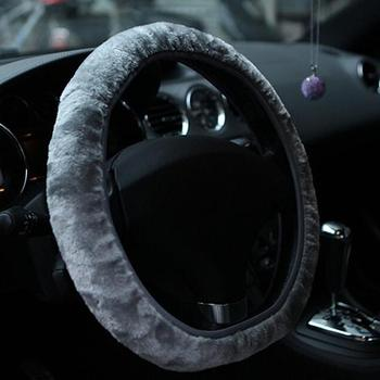 Car Steering Wheel Cover Soft Short Plush  Autumn Winter Faux fur Hand Brake & Gear Cover Set Car Interior Accessories image