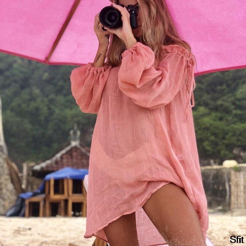 2020 Hot Cotton Beach Dress Cover Fashion Swim Cover-ups Long Sleeve Beachwear Off Shoulder Bikini Women Cover Up Tunic New