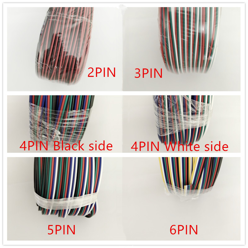 2pin 3pin 4pin 5pin 6pin 22AWG Led Connector Extension Cable LED RGB Wire For WS2812 WS2811 RGB RGBW RGB CCT 5050 3528 LED Strip