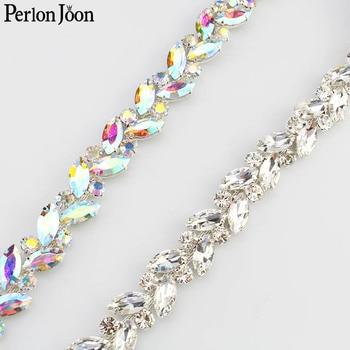 1 yard leaves AB color glass crystal chain rhinestone trim plat silver crystal chain decoration wedding dress accessories ML108