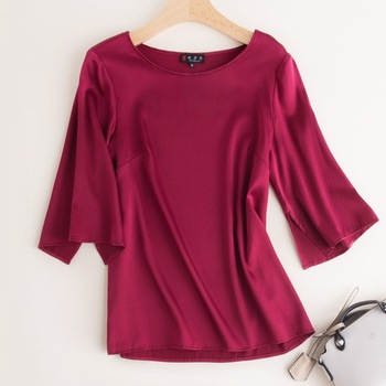 Silk tops women's shirt pink color middle sleeve mulberry plus size 2020 spring summer high-quality mom loose free ship фото