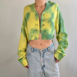 2021 New Girls Cryptographic Green Oversized Cardigan Crop Top Sweater Knitted Cute Long Sleeve Pins Sweaters Tie Dye Cartigans