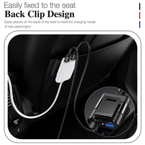 Image 4 - 4 Port Quick Charge QC 3.0 USB 3.1 Fast Charger Cable Back Clip Mobile Phone Car Charger Adapter For iPhone Samsung Xiaomi LG