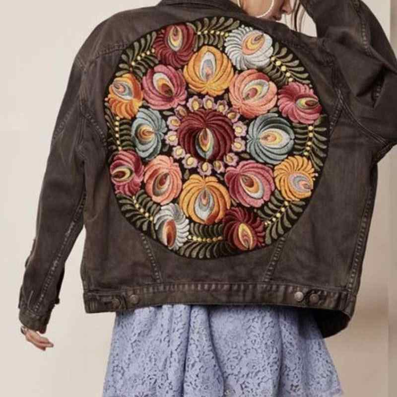 Boho แรงบันดาลใจขนาดใหญ่หลายดอกไม้ปัก DENIM แจ็คเก็ตแขนยาวลำลองแจ็คเก็ตเย็บปักถักร้อยผู้หญิง 2019 ฤดูหนาวใหม่เสื้อ