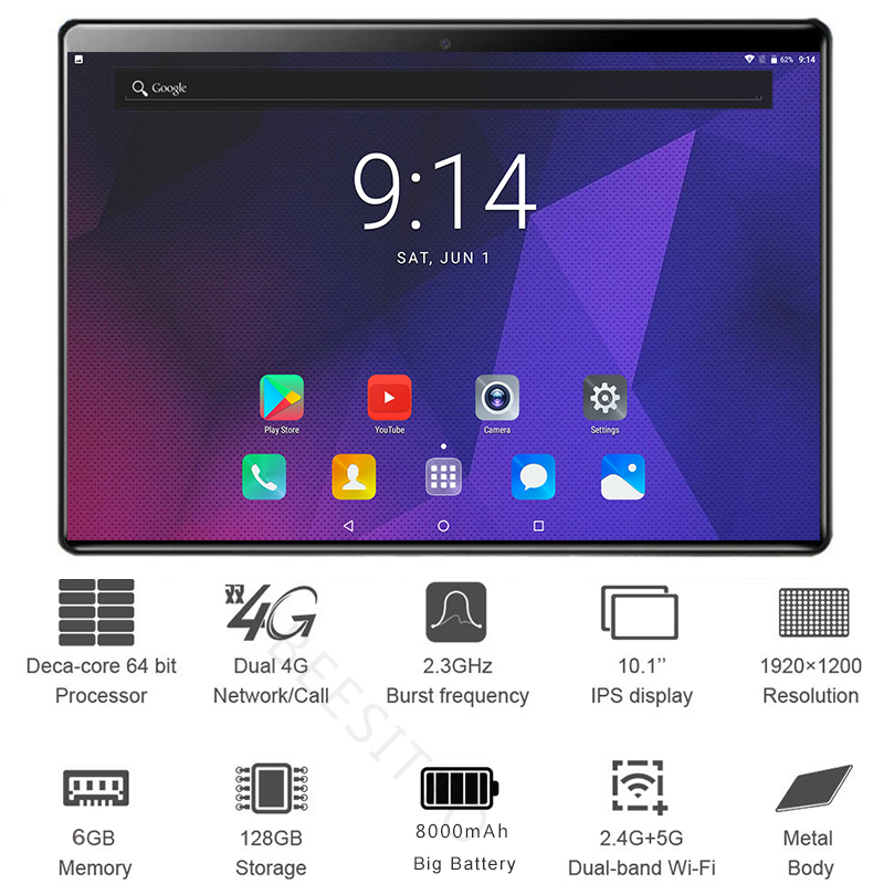 Super 6GB+128GB ROM Deca Core 10 Inch Tablet PC 128GB ROM GPS WiFi 10.1 Tablets 10 Cores 5.0MP 5000mAh 1920*1200 IPS Kid Tablets