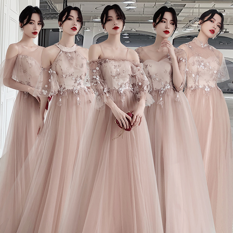 Khaki Bridesmaid Dresses Appliques Lace Top Formal Wedding Party Vestidos Boat Neck  Sling Women Dress A-Line Elegant Gowns R066
