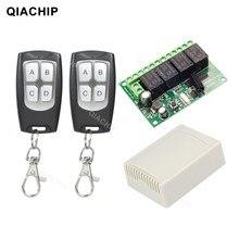 Qiachip 433mhz controle remoto dc 12v 24v 10a interruptor remoto sem fio 4ch relé módulo receptor e ev1527 rf transmissor