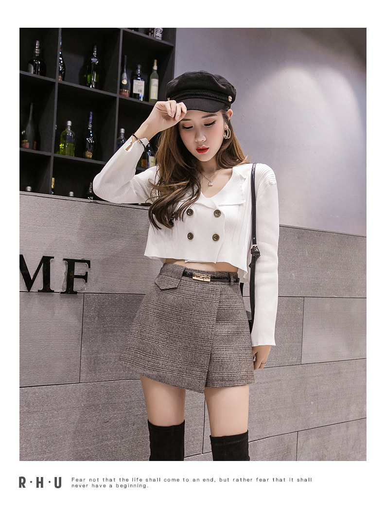 Heee88b70653846e0a7ef7bfd2d2224e8h - Irregular Woolen Plaid Shorts Skirts For Women Atumn Winter Office Short Women Plus Size Booty Shorts Feminino