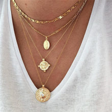 Multilayer Crystal Round Coin Necklace Pendant Necklace Women Bohemia Personality Fashion Necklace Jewelry Party Gifts стоимость