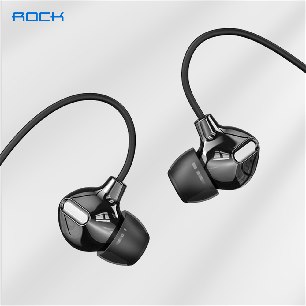 ROCK In Ear Obsidian Stereo Earphone 3 5mm Immersive Headset for iPhone ipad Samsung of Luxury Earbuds With Mic Wired Earphone