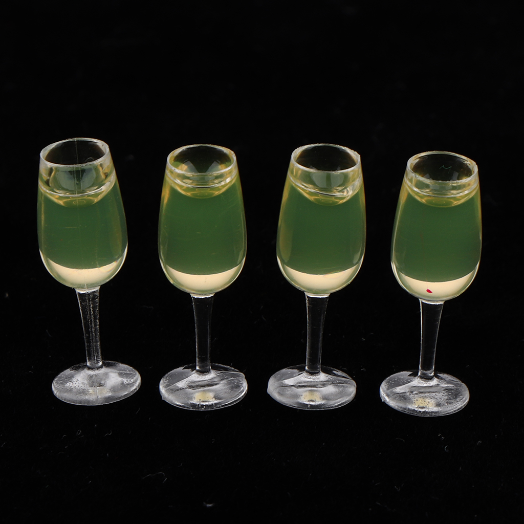 4pcs Dollhouse Miniatures 1:12 Scale Wine Glasses Goblets Toys Doll Kitchen Dining Room Decorations