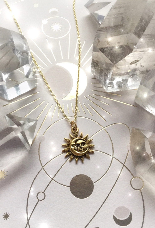Celestial Sun Moon Pendant Necklace,Celestial Sunmoon Charm Pendant Jewelry Gift