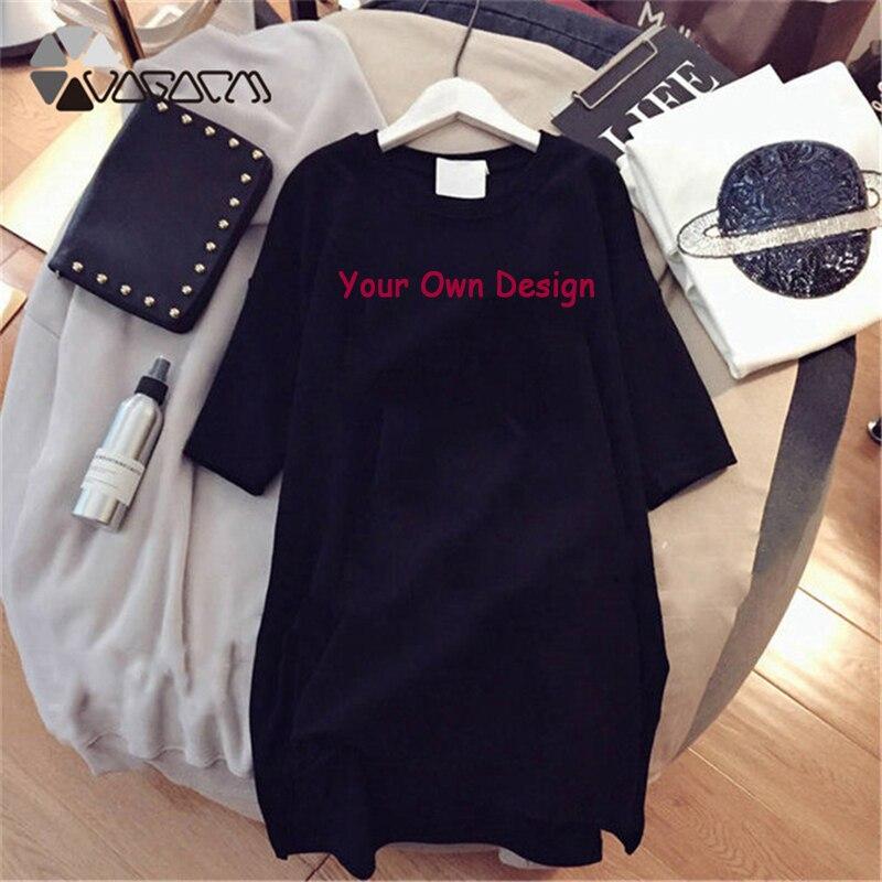 Your Like Photo Or Logo Your OWN Design Bran EU Size Cotton Custom T Shirt Dress Women Plus Size Short Sleeve DIY Clothing Femme
