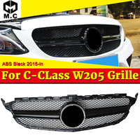 Fit For MercedesMB W205 grille grill Two fin ABS Gloss Black C class C180 C200 C250 C63 look Front grills without Sign 2015 2018
