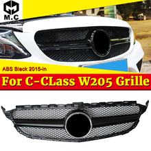купить Fit For MercedesMB W205 grille grill Two fin ABS Gloss Black C class C180 C200 C250 C63 look Front grills without Sign 2015-2018 по цене 3055.11 рублей