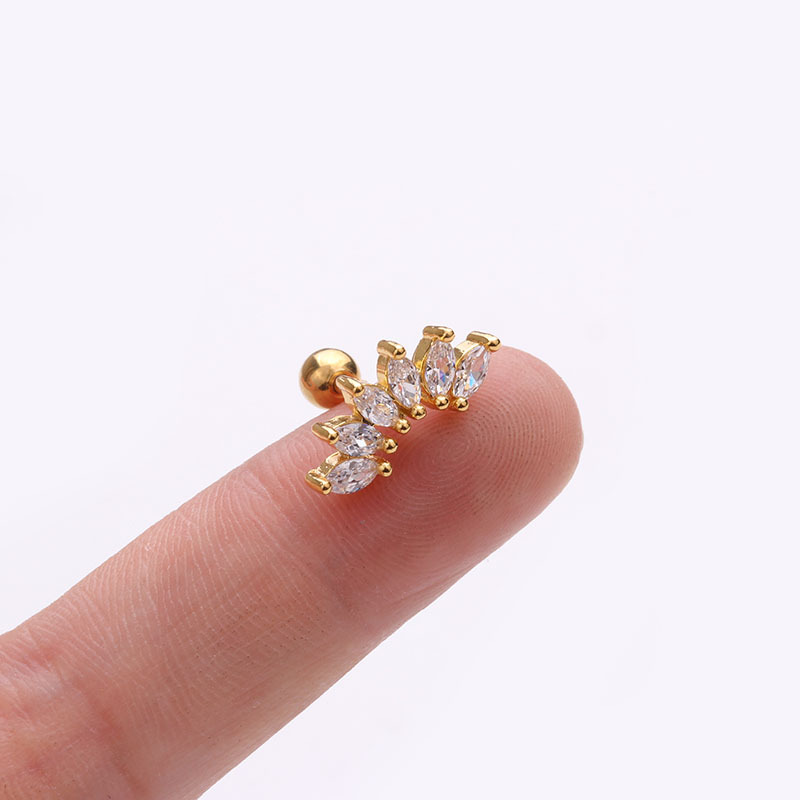 1Pc Gold And Silver Color Cz Cartilage Earring Stainless Steel Stars Flowers Screw Back Stud Tragus Rook Lobe Piercing Jewelry