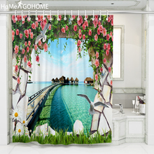 Flower Bird 3D Shower Curtains Waterproof Fabric Bath Screen Curtain for Home Decoration Bathroom Curtain Stone Wall Sea Scenery все цены