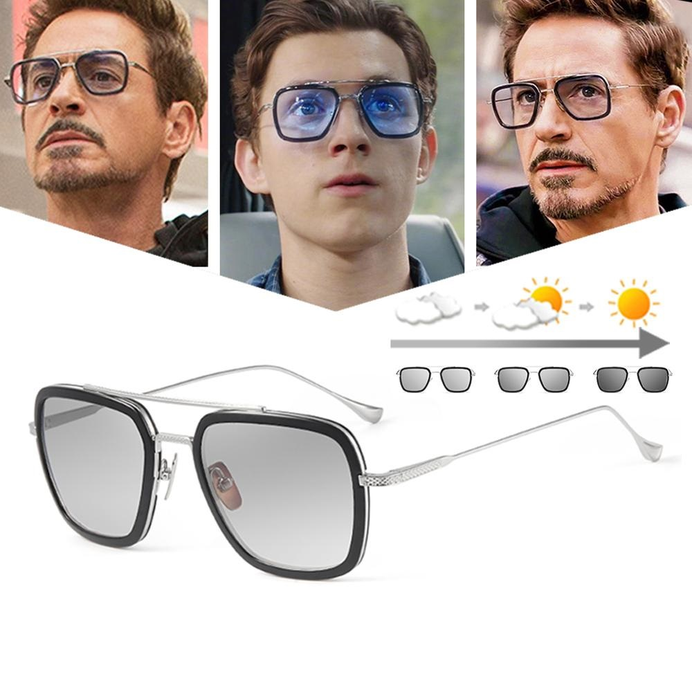 2020 Men Sunglasses Photochromic Tony Stark Iron Man Vintage Sun Glasses Men Eyewear Polarized Retro Fashion Shade UV400 1