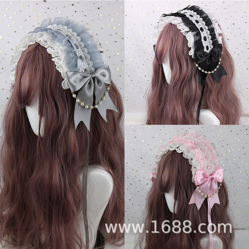 White Headpiece of Lace Lolita Sweet Wild Hair Band Take Angel Street hair band headbands lolita girls hair accessories