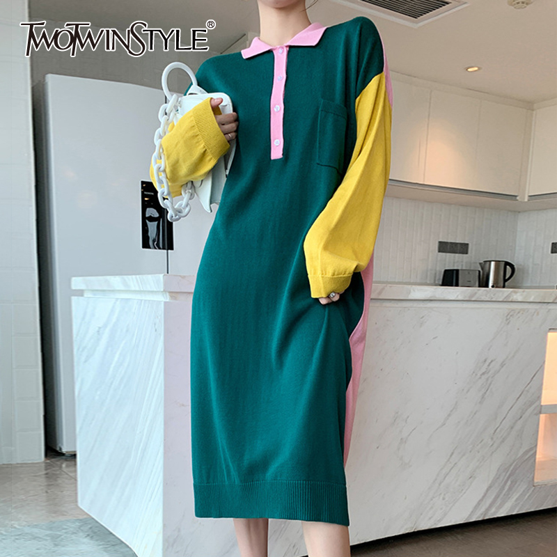 TWOTWINSTYLE Casual Patchwork Hit Color Dress For Women Lapel Collar Long Sleeve Loose Korean Dresses Female 2020 Autumn New